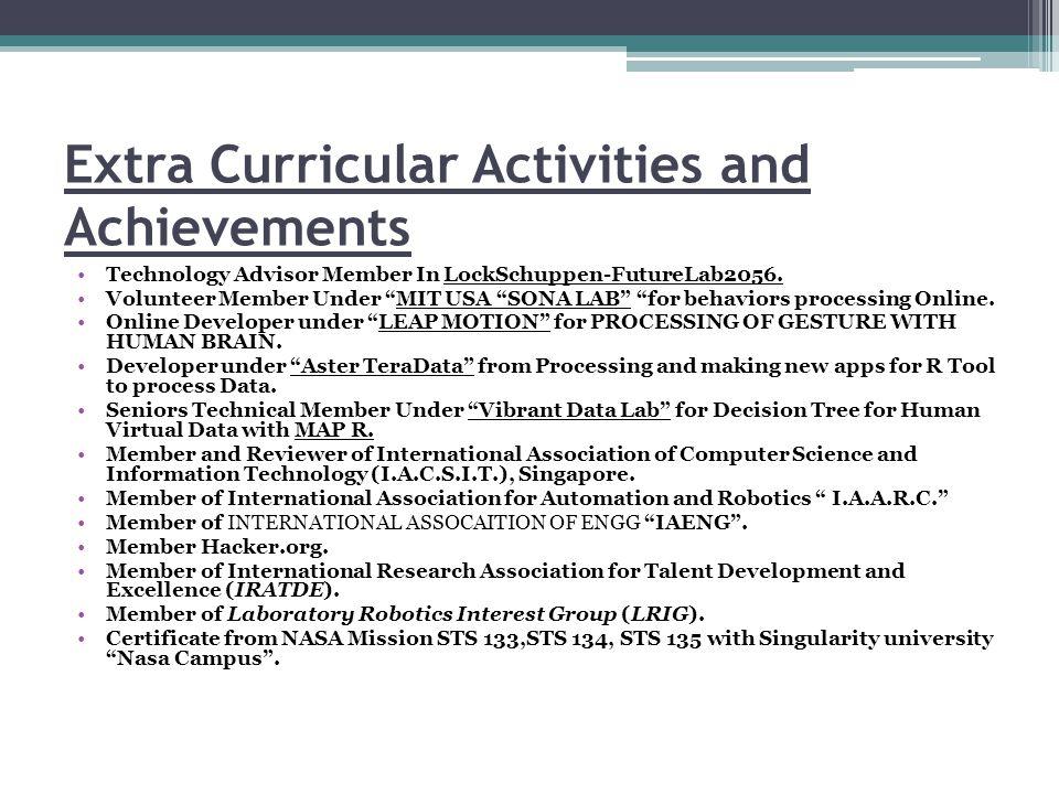 Extra Curricular Activities and Achievements Technology Advisor Member In LockSchuppen-FutureLab2056.