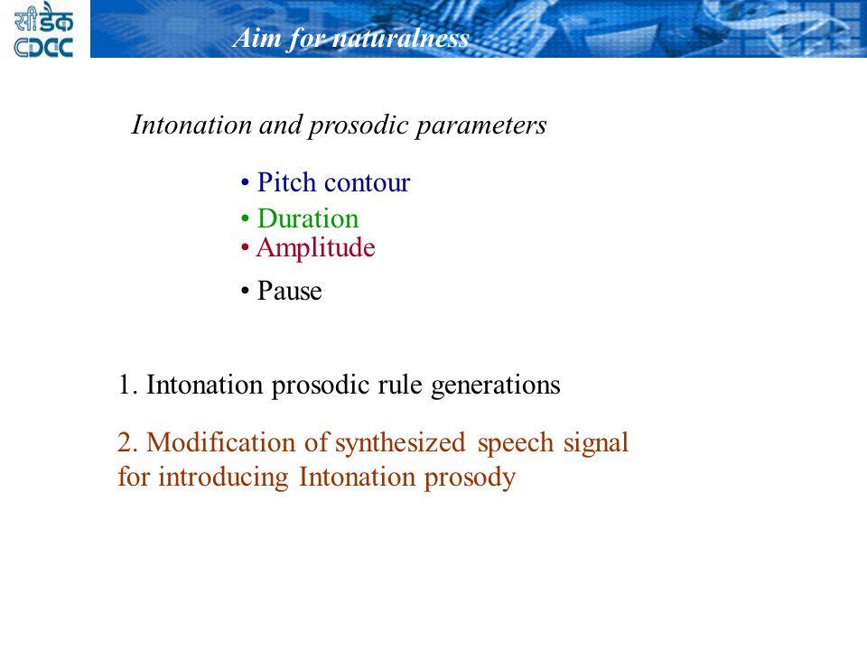 1.Intonation prosodic rule generations 2.