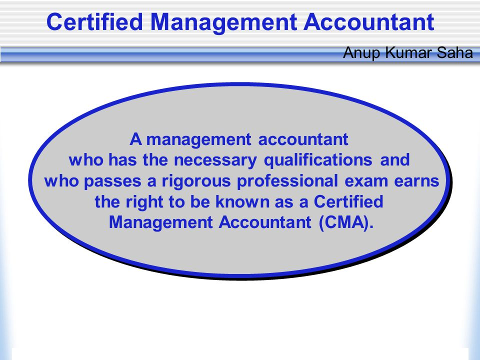 Copyright © 2006, The McGraw-Hill Companies, Inc.McGraw-Hill/Irwin Anup Kumar Saha Certified Management Accountant A management accountant who has the necessary qualifications and who passes a rigorous professional exam earns the right to be known as a Certified Management Accountant (CMA).