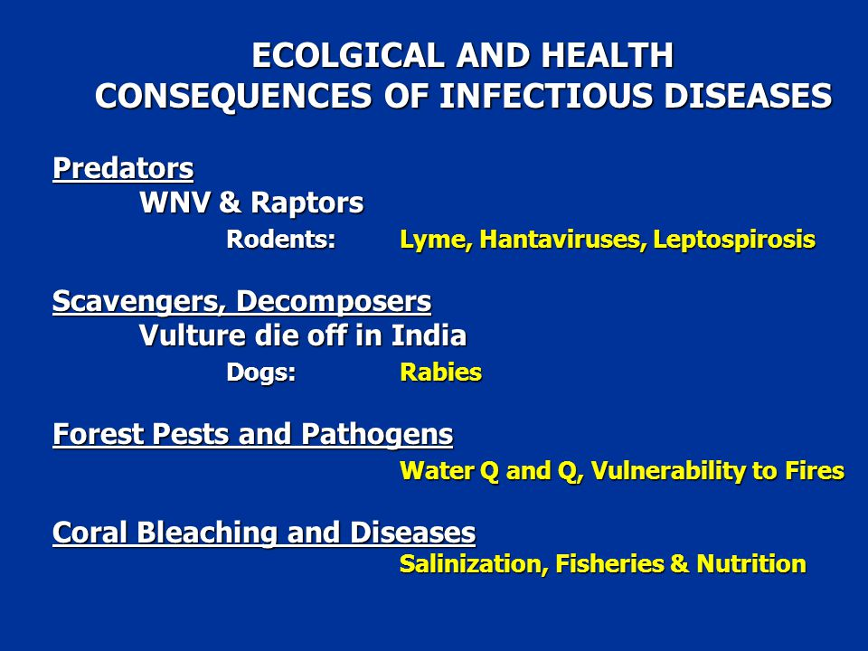 ECOLGICAL AND HEALTH CONSEQUENCES OF INFECTIOUS DISEASES Predators WNV & Raptors Rodents: Lyme, Hantaviruses, Leptospirosis Scavengers, Decomposers Vulture die off in India Dogs:Rabies Forest Pests and Pathogens Water Q and Q, Vulnerability to Fires Coral Bleaching and Diseases Salinization, Fisheries & Nutrition