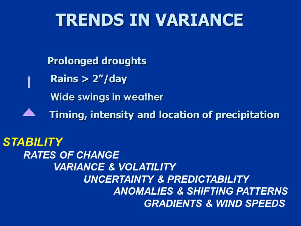 TRENDS IN VARIANCE Prolonged droughts Rains > 2 /day Rains > 2 /day Wide swings in weather Wide swings in weather Timing, intensity and location of precipitation STABILITY RATES OF CHANGE VARIANCE & VOLATILITY UNCERTAINTY & PREDICTABILITY ANOMALIES & SHIFTING PATTERNS GRADIENTS & WIND SPEEDS