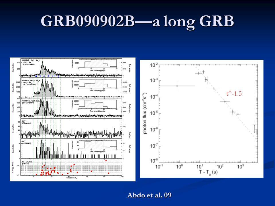 GRB090902B—a long GRB t^-1.5 Abdo et al. 09