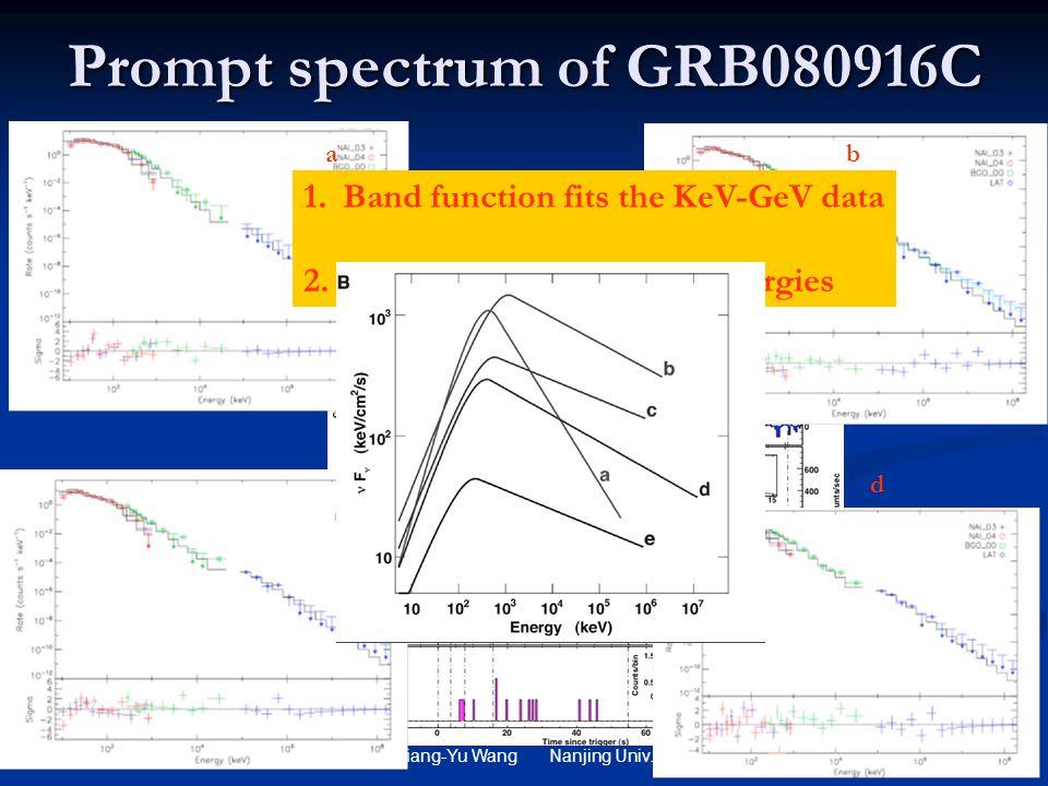Xiang-Yu Wang Nanjing Univ. Prompt spectrum of GRB080916C ab c d 1.Band function fits the KeV-GeV data 2. No bump is seen at high energies