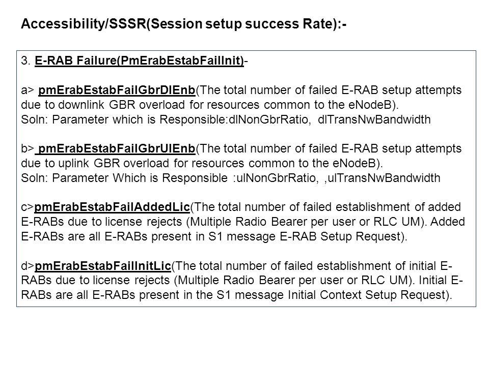 Accessibility/SSSR(Session setup success Rate):- 3. E-RAB Failure(PmErabEstabFailInit)- a> pmErabEstabFailGbrDlEnb(The total number of failed E-RAB se