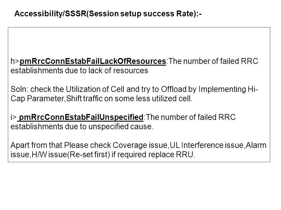 Accessibility/SSSR(Session setup success Rate):- 2.