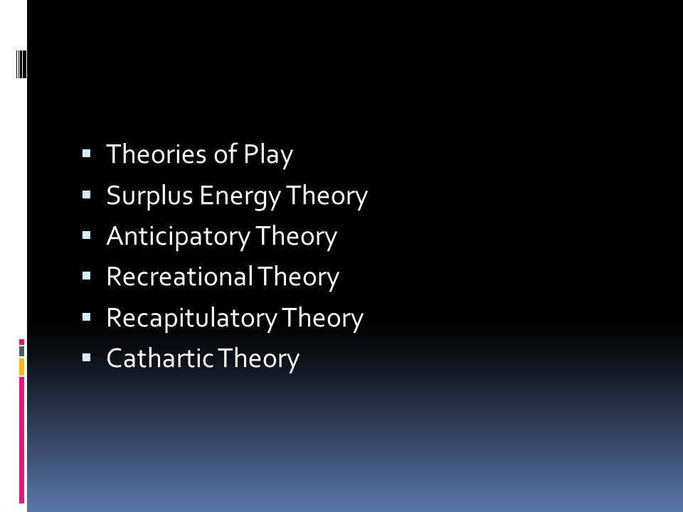  Theories of Play  Surplus Energy Theory  Anticipatory Theory  Recreational Theory  Recapitulatory Theory  Cathartic Theory