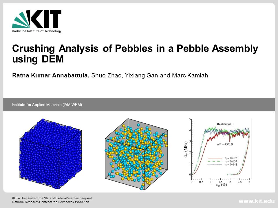 KIT – University of the State of Baden-Wuerttemberg and National Research Center of the Helmholtz Association Institute for Applied Materials (IAM-WBM) www.kit.edu Crushing Analysis of Pebbles in a Pebble Assembly using DEM Ratna Kumar Annabattula, Shuo Zhao, Yixiang Gan and Marc Kamlah