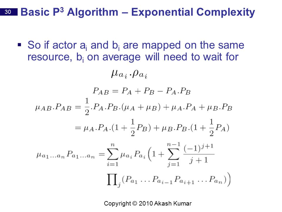 30 Copyright © 2010 Akash Kumar Basic P 3 Algorithm – Exponential Complexity  So if actor a i and b i are mapped on the same resource, b i on average will need to wait for