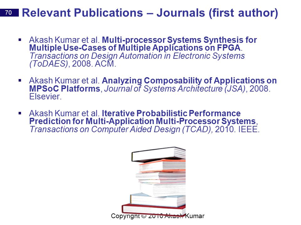70 Copyright © 2010 Akash Kumar Relevant Publications – Journals (first author)  Akash Kumar et al.