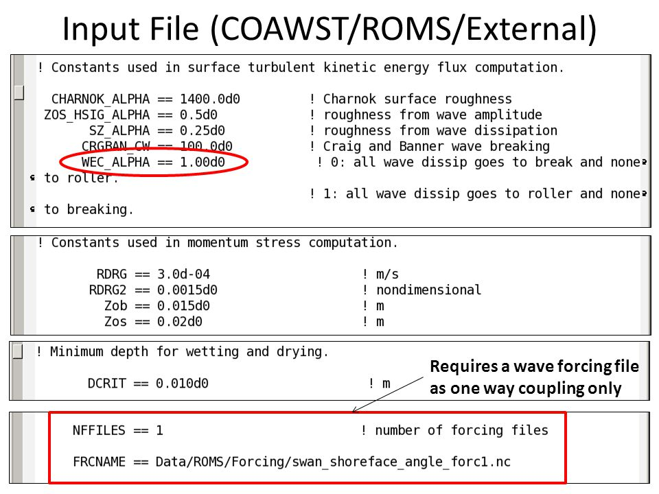 Requires a wave forcing file as one way coupling only