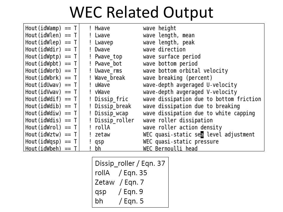 WEC Related Output Dissip_roller / Eqn. 37 rollA / Eqn. 35 Zetaw / Eqn. 7 qsp / Eqn. 9 bh / Eqn. 5