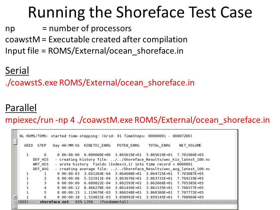 Running the Shoreface Test Case np = number of processors coawstM = Executable created after compilation Input file = ROMS/External/ocean_shoreface.in Serial./coawstS.exe ROMS/External/ocean_shoreface.in Parallel mpiexec/run -np 4./coawstM.exe ROMS/External/ocean_shoreface.in