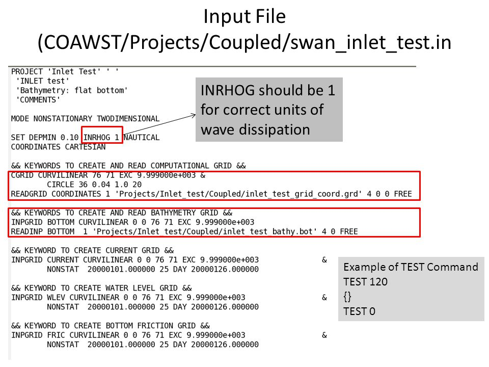 Input File (COAWST/Projects/Coupled/swan_inlet_test.in INRHOG should be 1 for correct units of wave dissipation Example of TEST Command TEST 120 {} TEST 0
