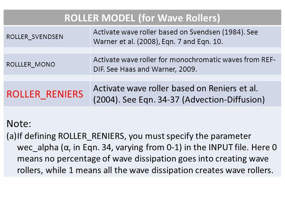 ROLLER MODEL (for Wave Rollers) ROLLER_SVENDSEN Activate wave roller based on Svendsen (1984).