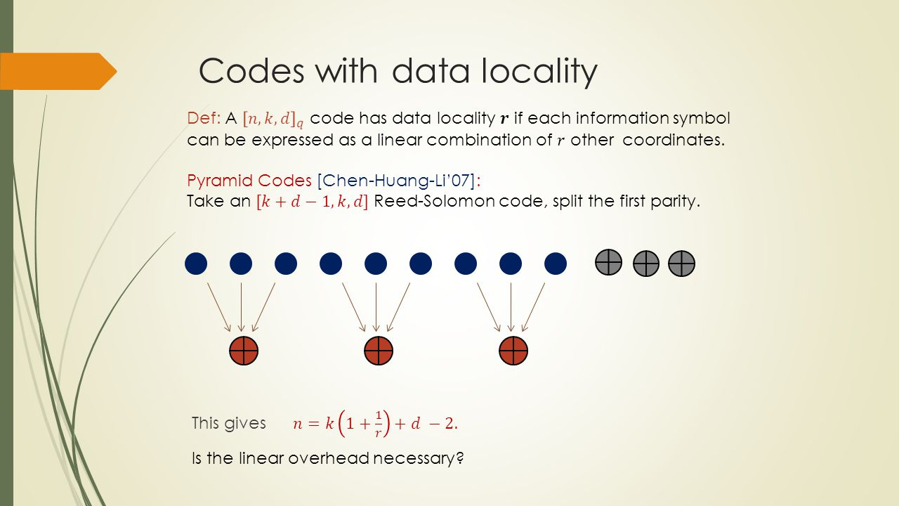 Codes with data locality