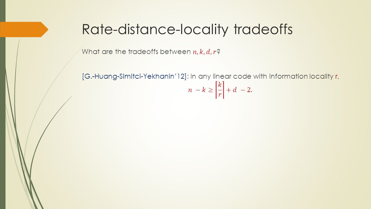 Rate-distance-locality tradeoffs