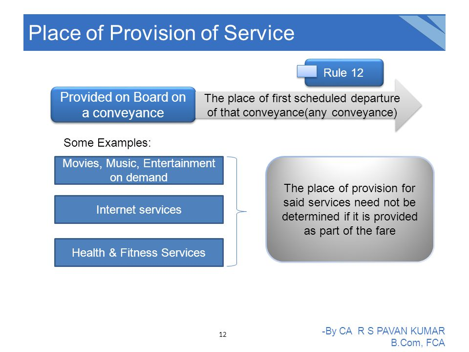 Place of Provision of Service -By CA R S PAVAN KUMAR B.Com, FCA Provided on Board on a conveyance The place of first scheduled departure of that conve