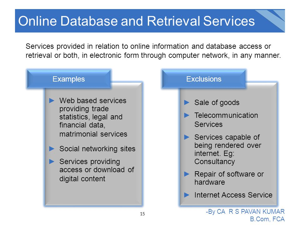 Online Database and Retrieval Services -By CA R S PAVAN KUMAR B.Com, FCA Services provided in relation to online information and database access or retrieval or both, in electronic form through computer network, in any manner.