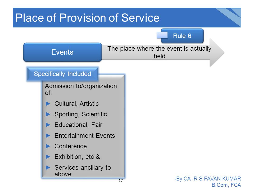 Place of Provision of Service -By CA R S PAVAN KUMAR B.Com, FCA Events The place where the event is actually held Admission to/organization of: ►Cultural, Artistic ►Sporting, Scientific ►Educational, Fair ►Entertainment Events ►Conference ►Exhibition, etc & ►Services ancillary to above Admission to/organization of: ►Cultural, Artistic ►Sporting, Scientific ►Educational, Fair ►Entertainment Events ►Conference ►Exhibition, etc & ►Services ancillary to above Specifically Included Rule 6 17