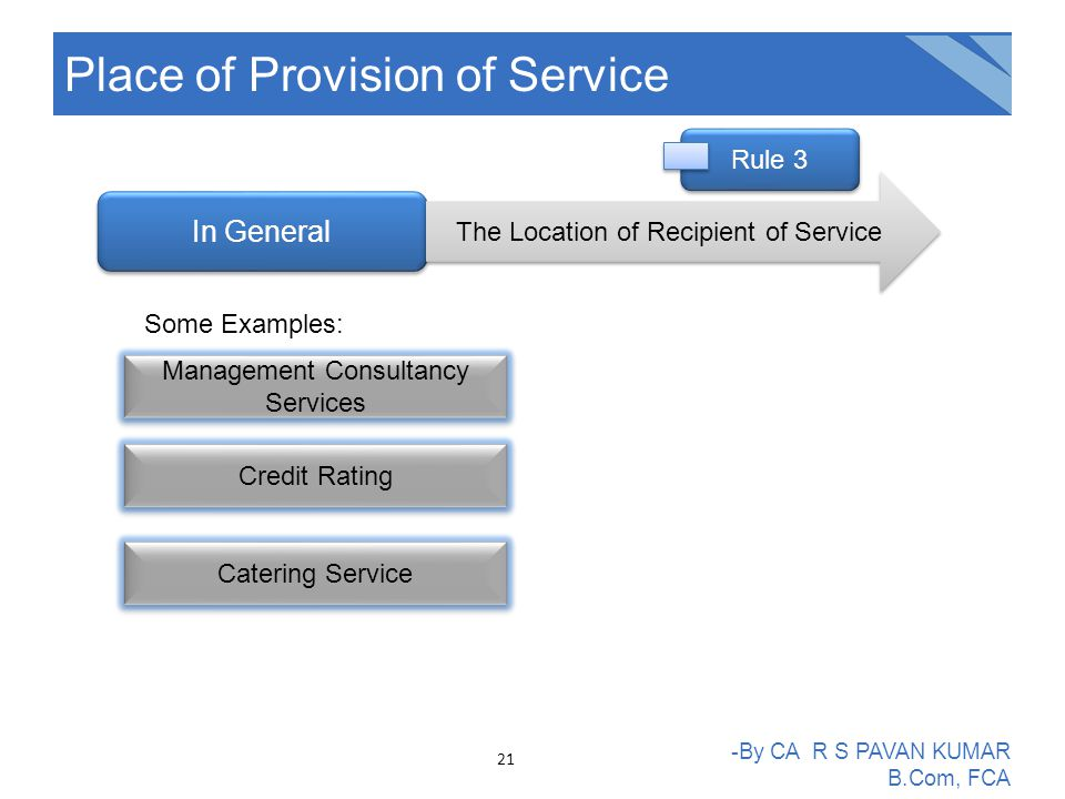 Place of Provision of Service -By CA R S PAVAN KUMAR B.Com, FCA In General The Location of Recipient of Service Management Consultancy Services Credit Rating Catering Service Some Examples: Rule 3 21