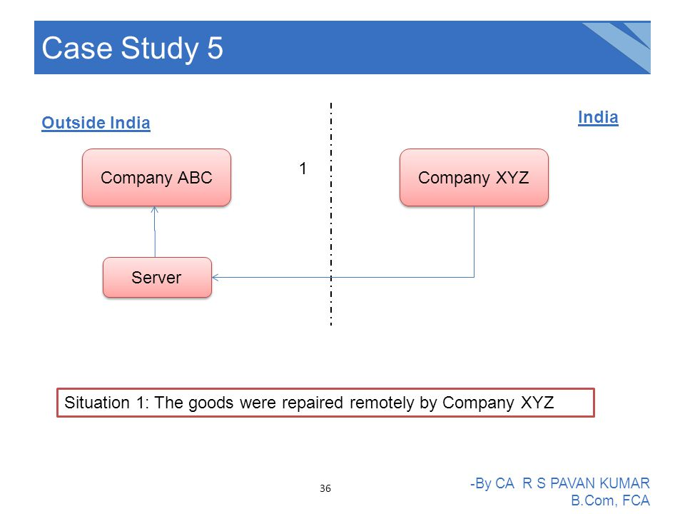 Case Study 5 -By CA R S PAVAN KUMAR B.Com, FCA Situation 1: The goods were repaired remotely by Company XYZ Company ABC Outside India India Company XY