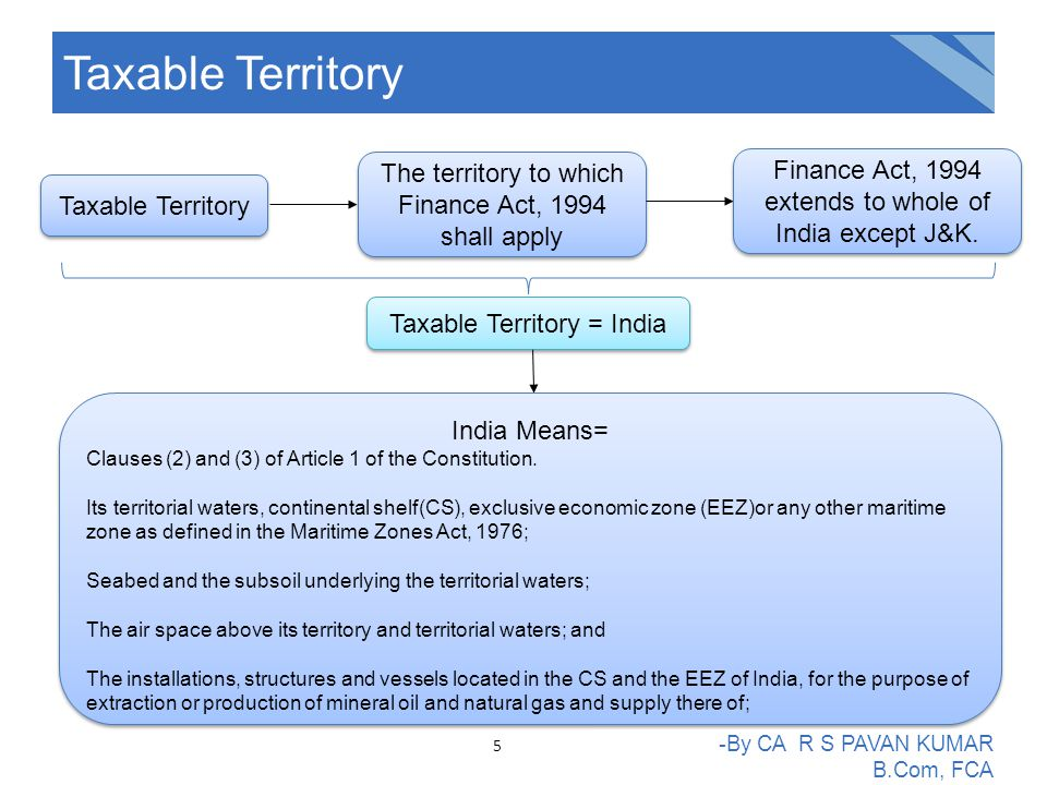 Taxable Territory The territory to which Finance Act, 1994 shall apply Finance Act, 1994 extends to whole of India except J&K.