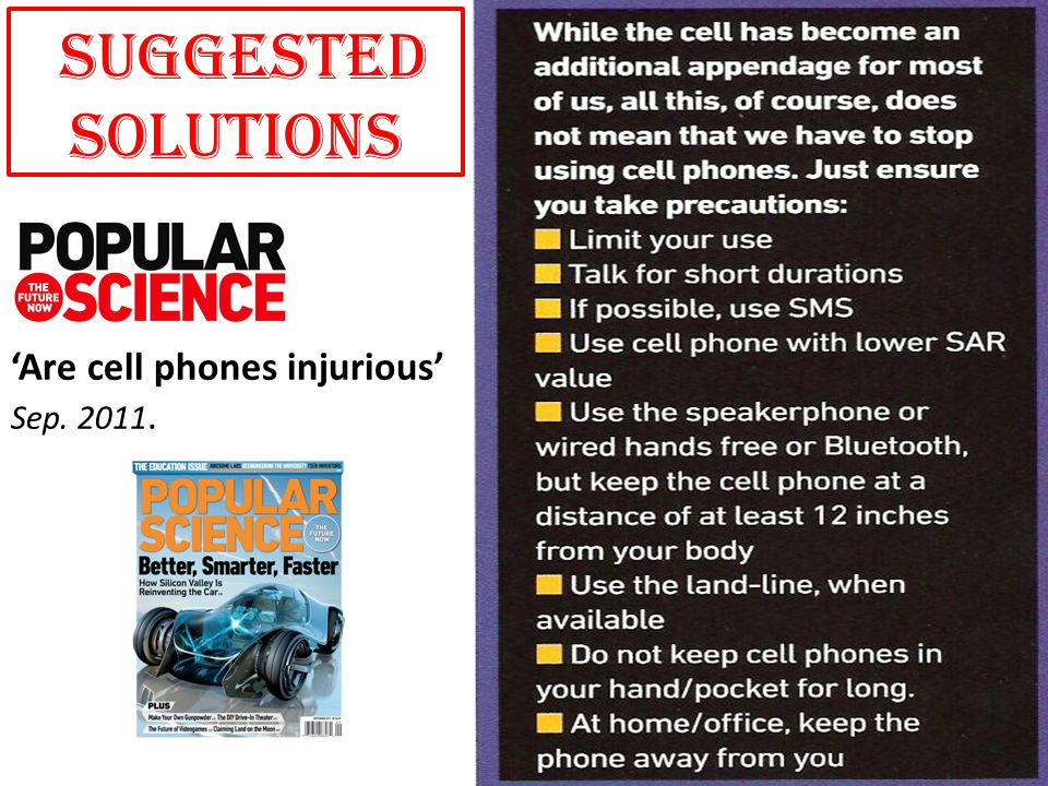 'Are cell phones injurious' Sep. 2011. SUGGESTED SOLUTIONS