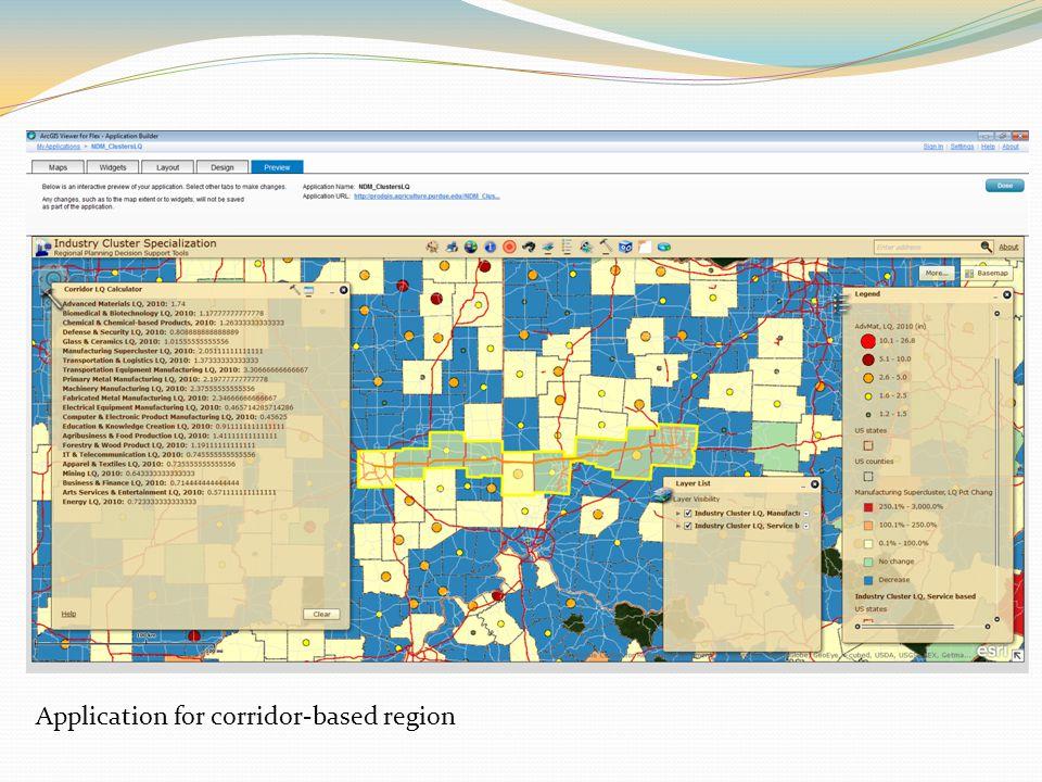 Application for corridor-based region