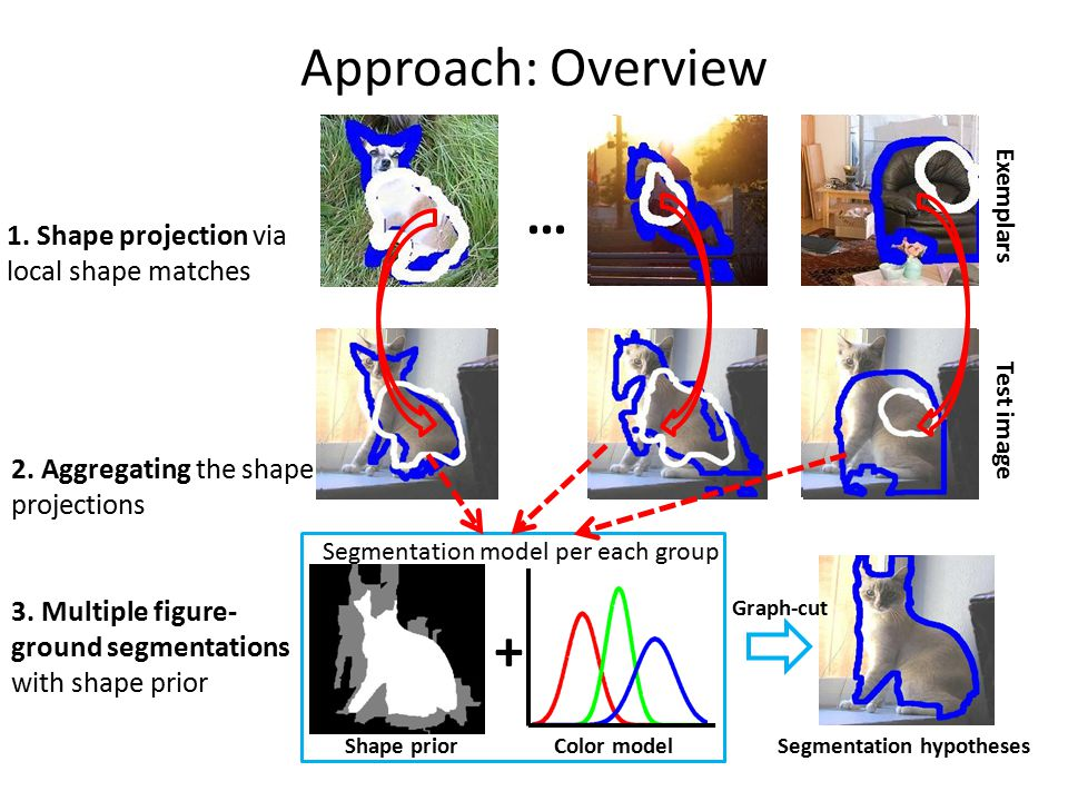 Approach: Shape projection Test image Exemplars Projection AggregationSegmentation Vs.
