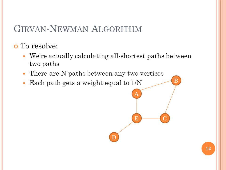 G IRVAN -N EWMAN A LGORITHM To resolve: We're actually calculating all-shortest paths between two paths There are N paths between any two vertices Eac
