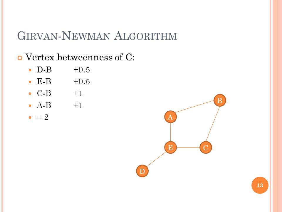 G IRVAN -N EWMAN A LGORITHM Vertex betweenness of C: D-B +0.5 E-B +0.5 C-B +1 A-B +1 = 2 13 A D C B E