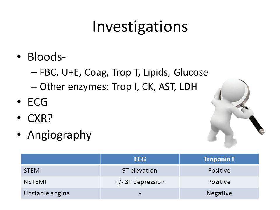 Investigations Bloods- – FBC, U+E, Coag, Trop T, Lipids, Glucose – Other enzymes: Trop I, CK, AST, LDH ECG CXR.