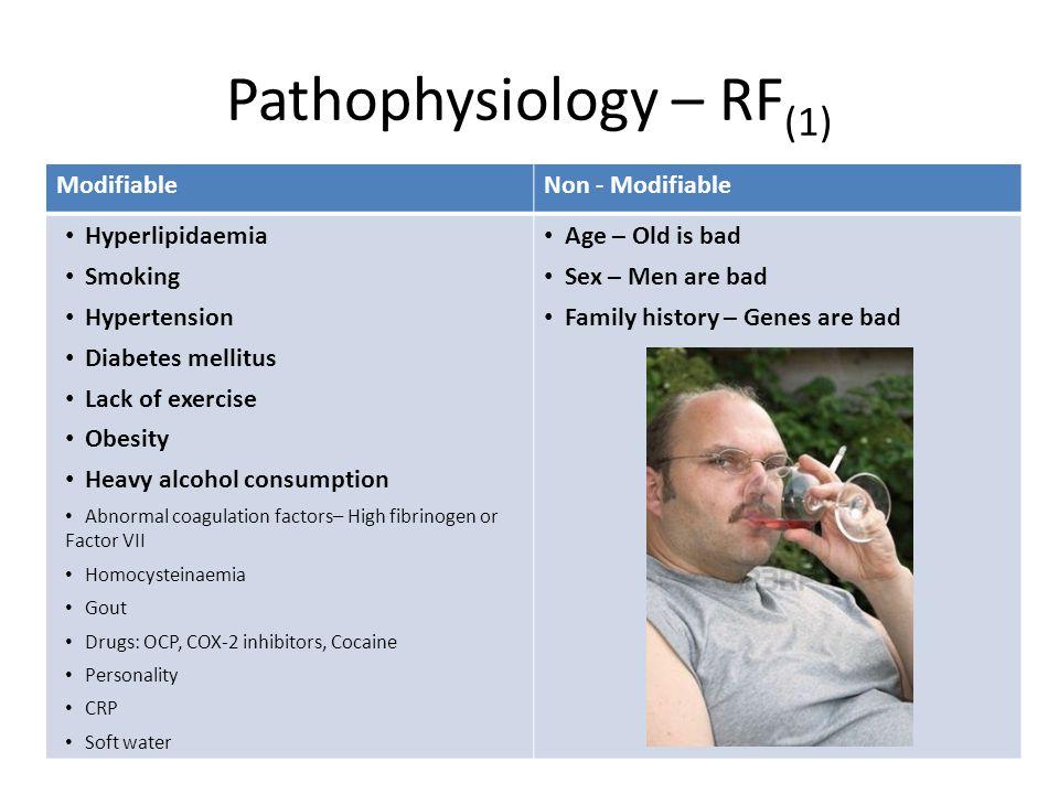 Pathophysiology – RF (1) ModifiableNon - Modifiable Hyperlipidaemia Smoking Hypertension Diabetes mellitus Lack of exercise Obesity Heavy alcohol cons