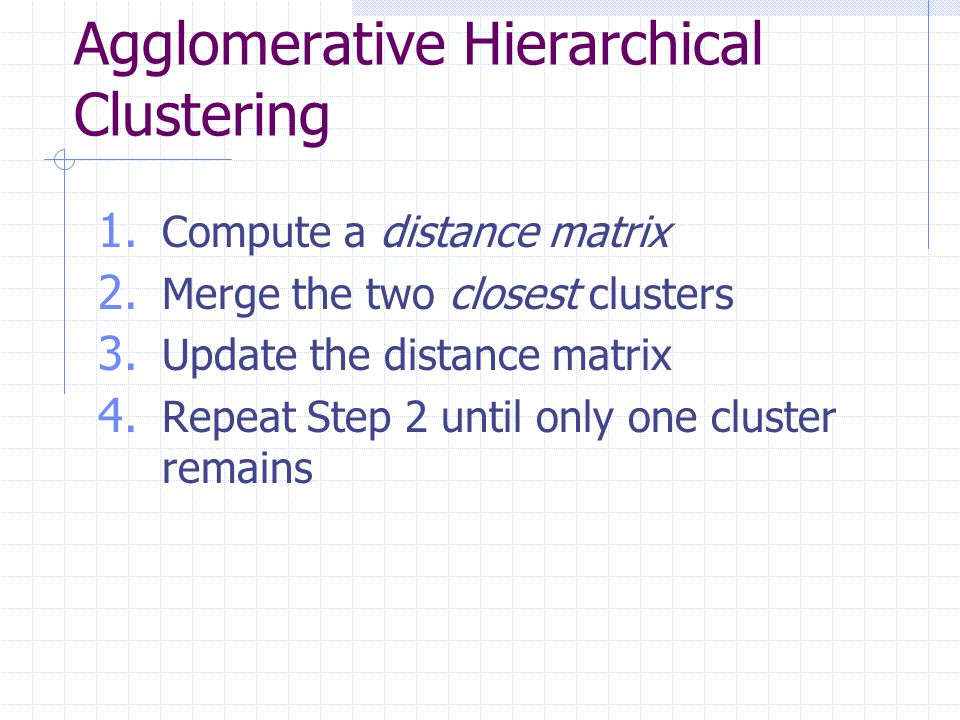 Distance Between Clusters … Min distance Distance between two closest objects Min < threshold: Single-link Clustering Max distance Distance between two farthest objects Max < threshold: Complete-link Clustering Average distance Average of all pairs of objects from the two clusters