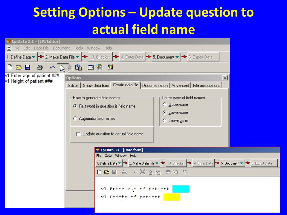Setting Options – Update question to actual field name