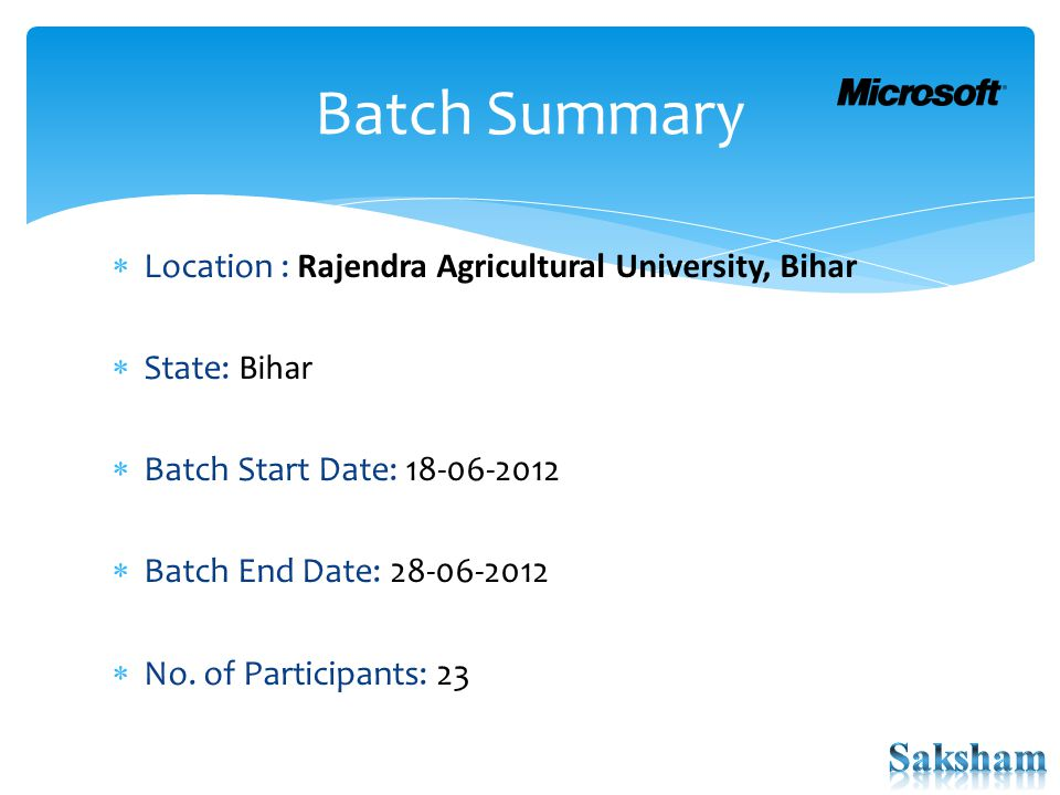  Location : Rajendra Agricultural University, Bihar  State: Bihar  Batch Start Date: 18-06-2012  Batch End Date: 28-06-2012  No. of Participants: