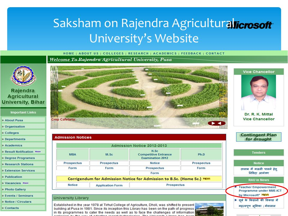 Saksham on Rajendra Agricultural University's Website