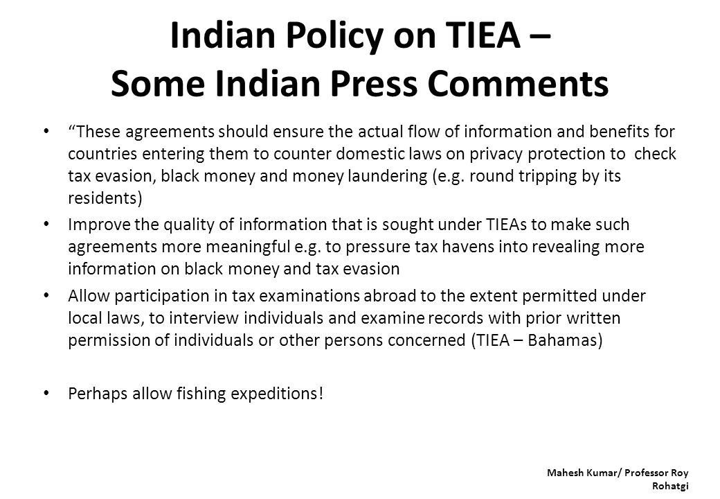 "Indian Policy on TIEA – Some Indian Press Comments ""These agreements should ensure the actual flow of information and benefits for countries entering"