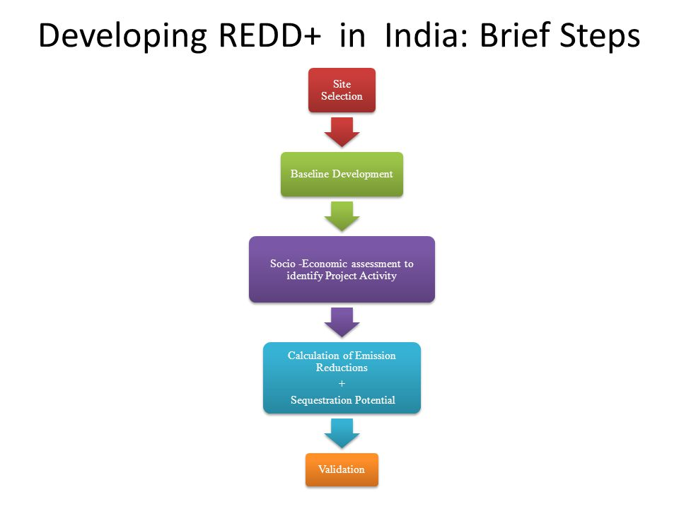 Developing REDD+ in India: Brief Steps Site Selection Baseline Development Socio -Economic assessment to identify Project Activity Calculation of Emis