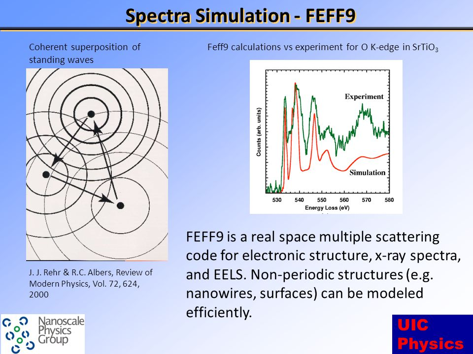 UIC Physics Spectra Simulation - FEFF9 FEFF9 is a real space multiple scattering code for electronic structure, x-ray spectra, and EELS.
