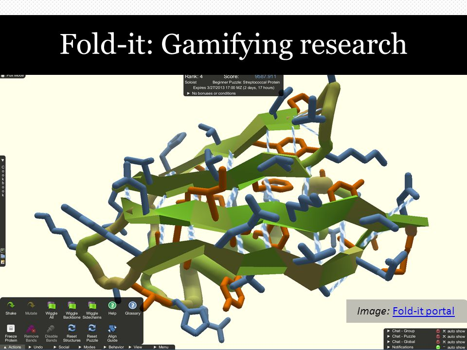 Fold-it: Gamifying research Image: Fold-it portalFold-it portal
