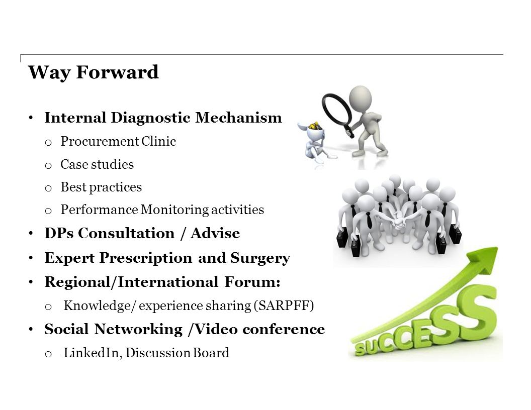 Way Forward Internal Diagnostic Mechanism o Procurement Clinic o Case studies o Best practices o Performance Monitoring activities DPs Consultation / Advise Expert Prescription and Surgery Regional/International Forum: o Knowledge/ experience sharing (SARPFF) Social Networking /Video conference o LinkedIn, Discussion Board