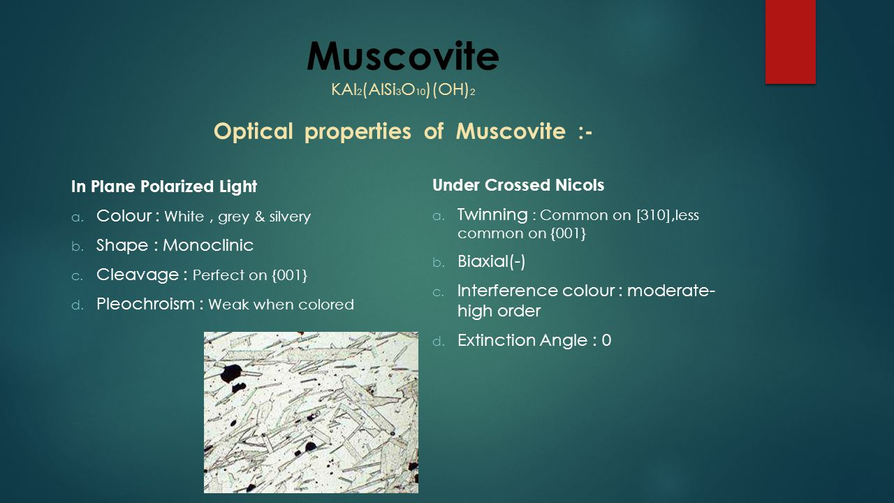 Muscovite KAl 2 (AlSi 3 O 10 )(OH) 2 Optical properties of Muscovite :- In Plane Polarized Light a. Colour : White, grey & silvery b. Shape : Monoclin
