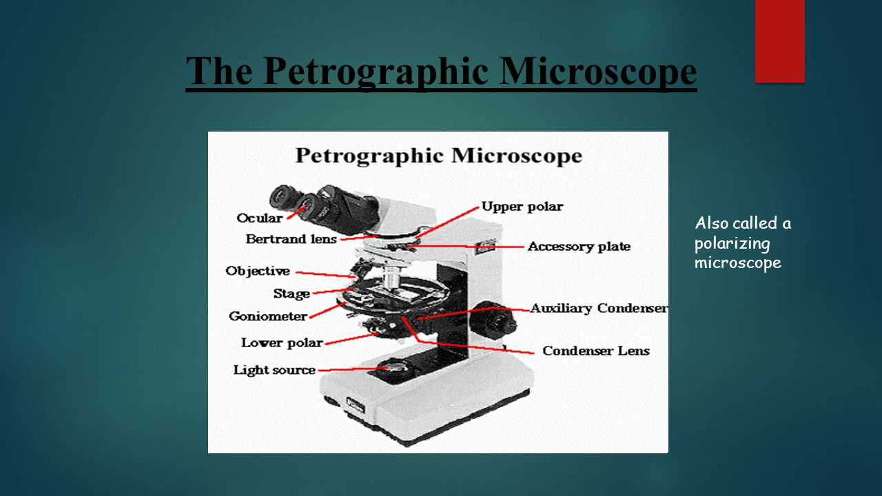 The Petrographic Microscope Also called a polarizing microscope
