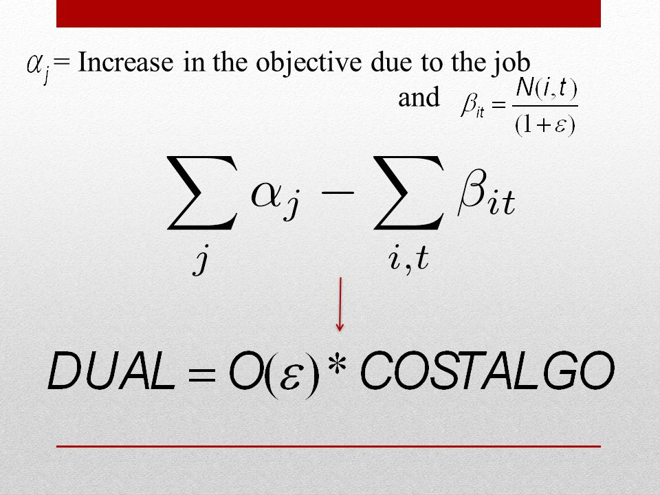 = Increase in the objective due to the job and