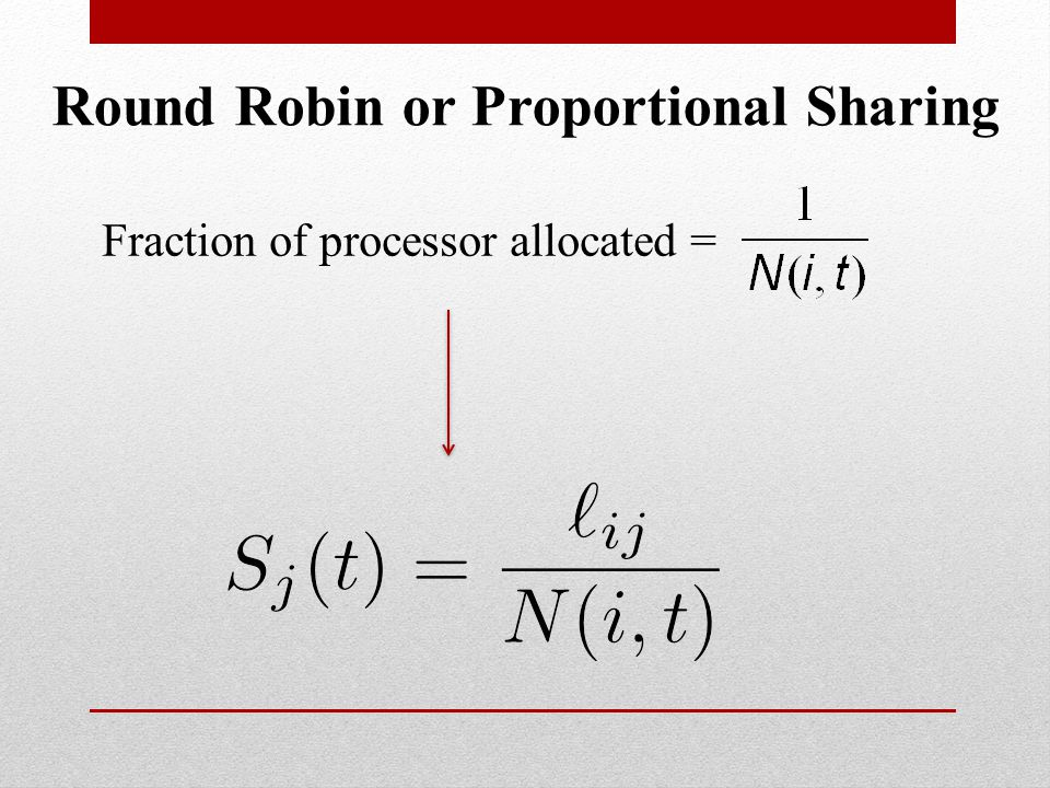 Fraction of processor allocated = Round Robin or Proportional Sharing