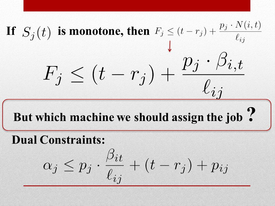 If is monotone, then Dual Constraints: But which machine we should assign the job