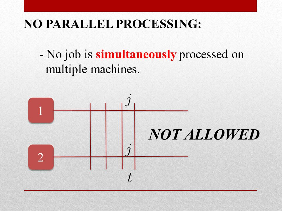 NO PARALLEL PROCESSING: - No job is simultaneously processed on multiple machines.