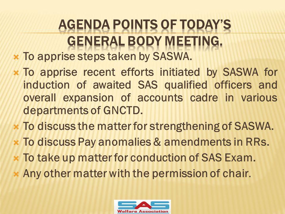  To apprise steps taken by SASWA.