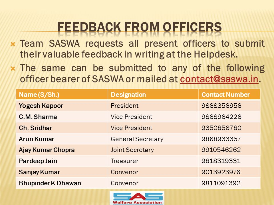  Team SASWA requests all present officers to submit their valuable feedback in writing at the Helpdesk.
